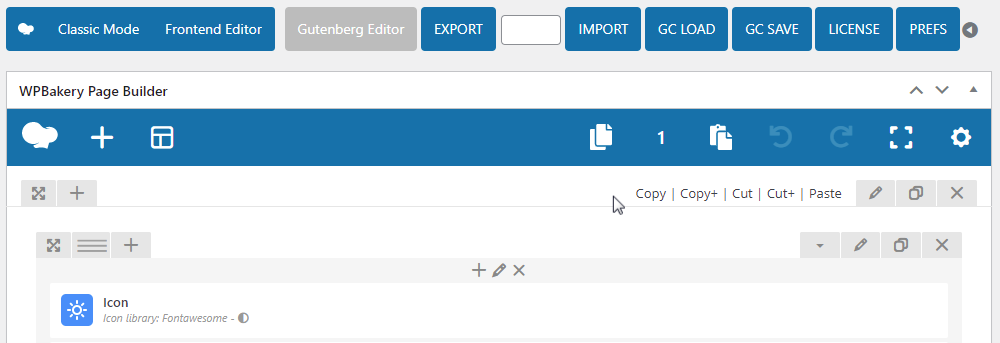 WPBakery Page Builder Clipboard - Back End